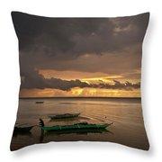 Sunset At Tabuena Beach 1 Throw Pillow