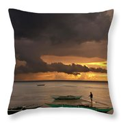 Sunset At Tabuena Beach 2 Throw Pillow