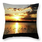 Sunset At The Bath House Throw Pillow