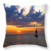 Sunset At The Bell Buoy Throw Pillow