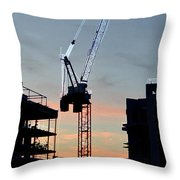 Sunset At The Construction Site 3  Throw Pillow