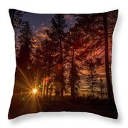 Sunset At The End Of The Hike Throw Pillow