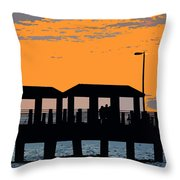 Sunset At The Fishing Pier Throw Pillow