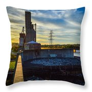 Sunset At The Flood Wall Throw Pillow