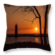 Sunset At The Lighthouse In Muskegon Michigan Throw Pillow