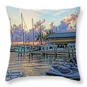 Sunset At The Marina Throw Pillow