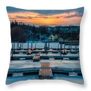 Sunset At The Marina In Winter Throw Pillow