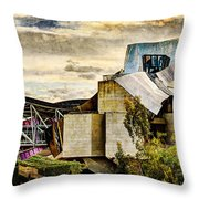 sunset at the marques de riscal Hotel - frank gehry - vintage version Throw Pillow