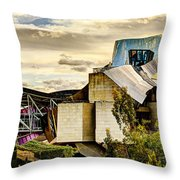 sunset at the marques de riscal Hotel - frank gehry Throw Pillow