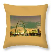 Sunset At The St. Louis Arch  Throw Pillow