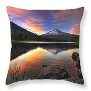 Sunset At Trillium Lake With Mount Hood Throw Pillow