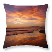 Sunset At Venice Beach Throw Pillow