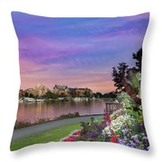 Sunset At Victoria Bc  Inner Harbour Throw Pillow