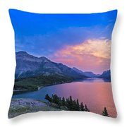 Sunset At Waterton Lakes National Park Throw Pillow