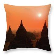 Sunset Bagan Throw Pillow