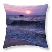 Sunset Beach Nj And Ship Throw Pillow