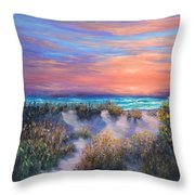 Sunset Beach Painting With Walking Path And Sand Dunesand Blue Waves Throw Pillow
