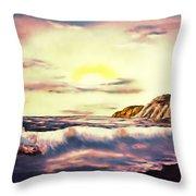 Sunset Beach Pastel Splash - Elegance With Oil Throw Pillow