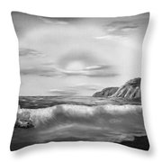 Sunset Beach Pastel Splash In Black And White Throw Pillow