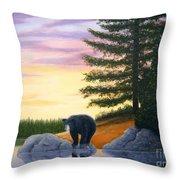 Sunset Bear Throw Pillow by Tracey Goodwin