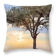 Sunset Behind Acacia Tree Digital Watercolor Throw Pillow
