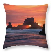 Sunset Behind Arch At Oregon Coast Usa Throw Pillow
