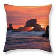 Sunset Behind Arch At Oregon Coast Usa Throw Pillow