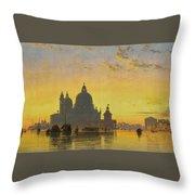 Sunset Behind The Church Of Santa Maria Della Salute Throw Pillow