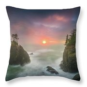 Sunset Between Sea Stacks With Trees Of Oregon Coast Throw Pillow