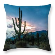 Sunset Beyond The Cacti Throw Pillow