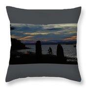Sunset Bicycle At Earth Clock Burlington Vermont Panorama Throw Pillow