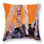 Sunset Birches Throw Pillow