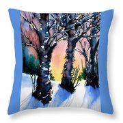 Sunset Birches On The Rise Throw Pillow