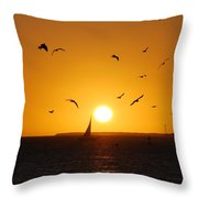 Sunset Birds Key West Throw Pillow by Susanne Van Hulst