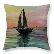 Sunset Boat 1 Throw Pillow