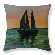 Sunset Boat 2 Throw Pillow