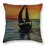 Sunset Boat 3 Throw Pillow