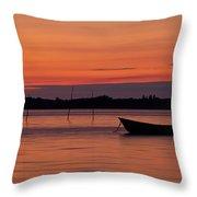 Sunset Boat Throw Pillow