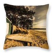 Sunset Boat Shed Throw Pillow