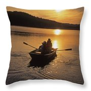 Sunset Boating  Throw Pillow