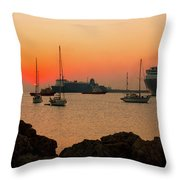 Sunset, Boats And Sea Throw Pillow