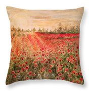 Sunset By The Poppy Fields Throw Pillow