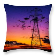 Sunset By The Wires Throw Pillow