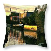 Sunset Canal Reflections Throw Pillow