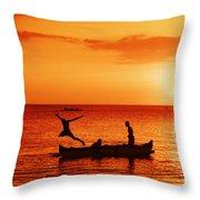 Sunset Canoe Jump Throw Pillow