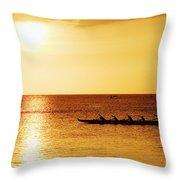 Sunset Canoe Throw Pillow