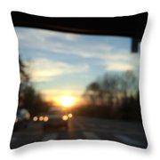 Sunset Cars Throw Pillow