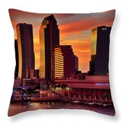 Sunset City Downtown By The River Throw Pillow