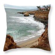 Sunset Cliffs With Bird Rock Throw Pillow