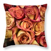 Sunset Colored Roses Throw Pillow